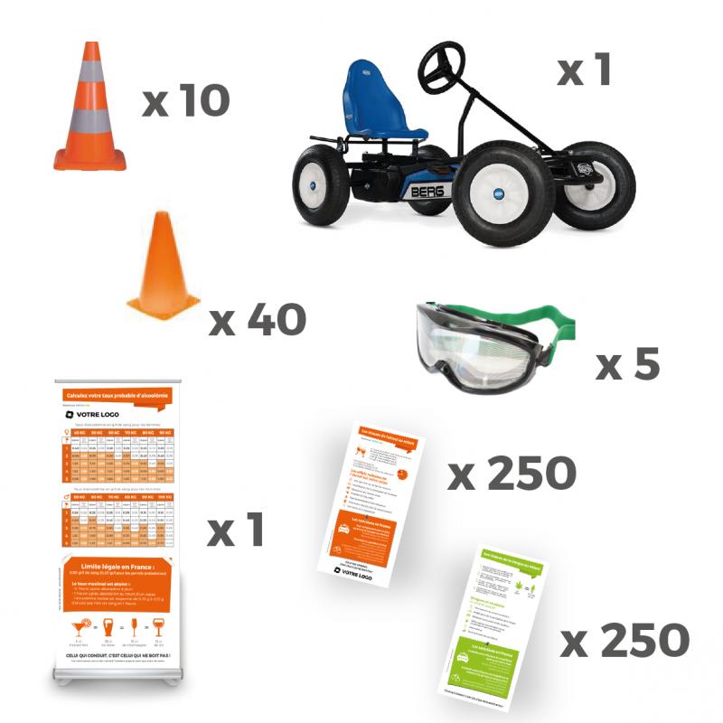 Pack de prévention aux dangers de l'alcool et des drogues au volant avec lunettes, totems, kart à pédales, flyer, plots.