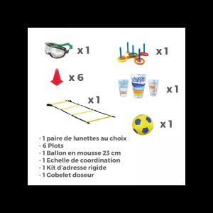 Exercice pour tester les réflexes avec : plots, ballon, lunettes de perturbation, échelle, kit d'adresse et gobelet doseur.