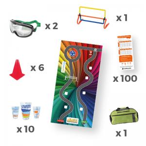 Kit de sensibilisation ludique aux dangers de l'alcool au volant avec accessoires préventifs.