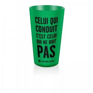 gobelet doseur d'alcool vert, celui qui conduit c'est celui qui ne boit pas