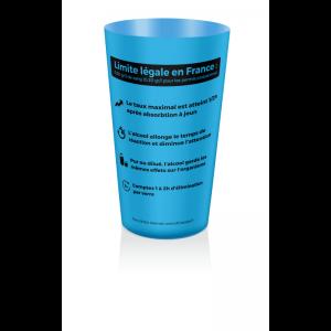gobelet de sensibilisation aux dangers de l'alcool bleu