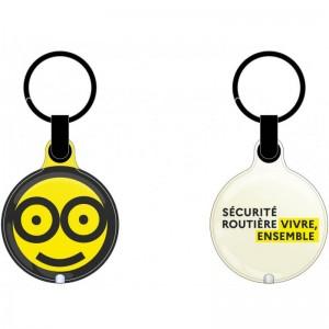 """Porte-clefs avec LED et logos SAM """"Celui qui conduit c'est celui qui ne boit pas"""" et """"Sécurité Routière, Vivre, Ensemble."""""""