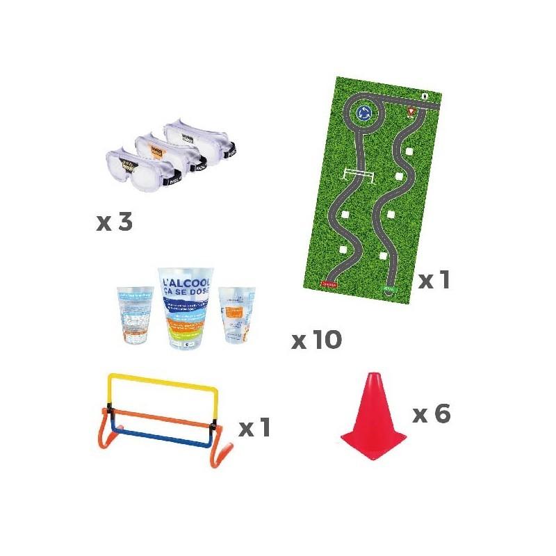 Kit de matériel pédagogique pour sensibiliser aux dangers de l'alcool au volant.